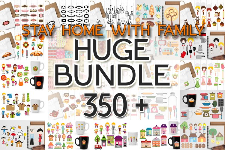 Huge Bundle - Stay Home Family Illustrations