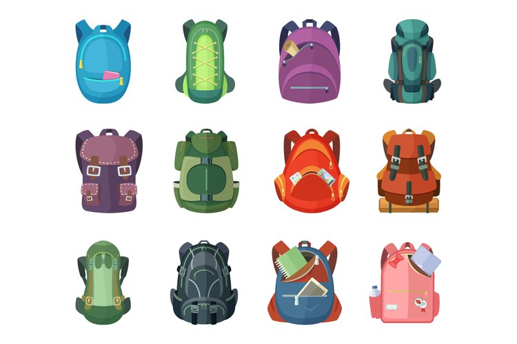 Backpacks for school and hiking. Vector illustration in flat example image 1