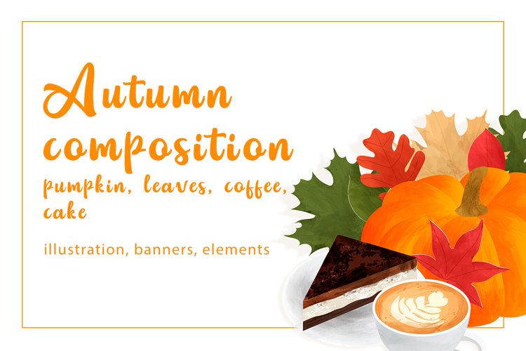 Autumn composition with pumpkin, leaves, coffee, cake