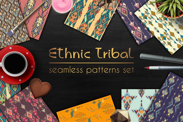 Ethnic tribal seamless pattern set example image 1