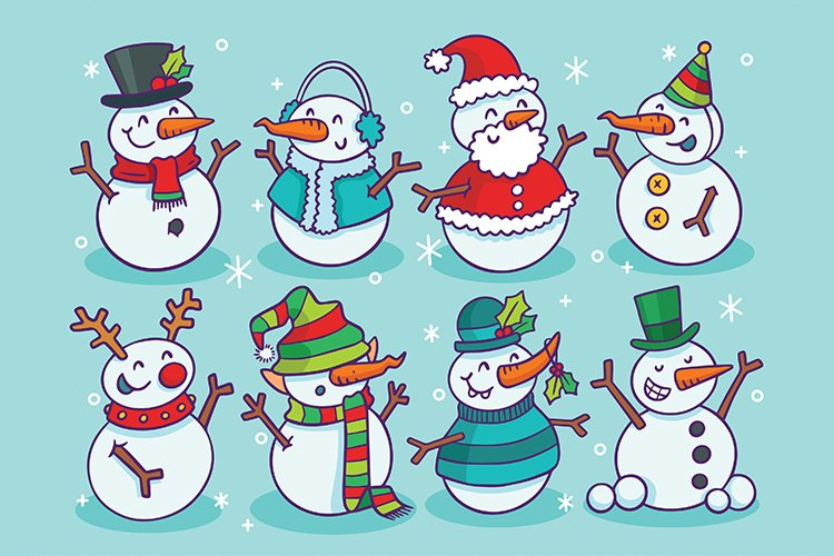 Christmas Snowmen Vector Set, Printable, Editable, Sticker