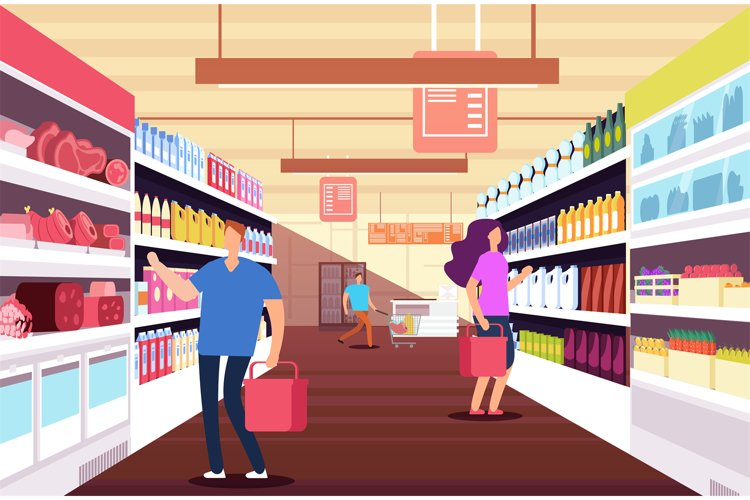 Shopping people in hypermarket. Customers between food produ example image 1