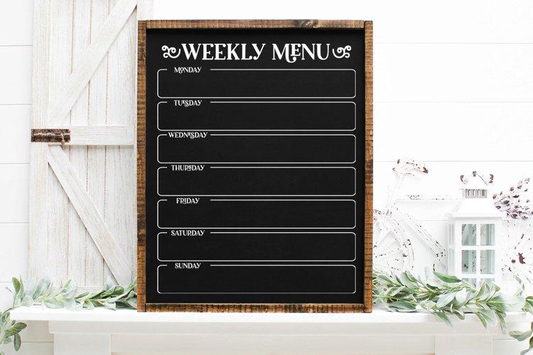Weekly Menu Planner SVG, Weekly Menu Printable example
