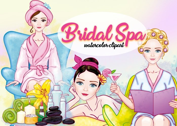 Watercolor Bridal Shower Cliparts by Whimseez
