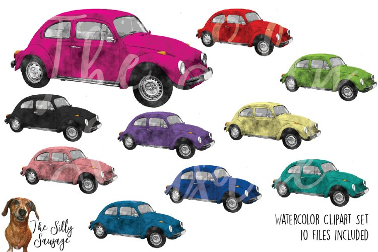 Doodle Bug Cars Watercolor Clipart