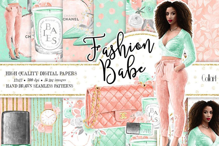 Fashion Digital Paper Pack, Hand Drawn Watercolor Fashion example image 1