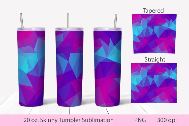 Skinny Tumbler Sublimation design. Abstract low poly