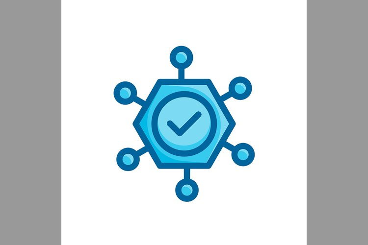 check mark community symbol flat blue color, Vector Illustra example image 1