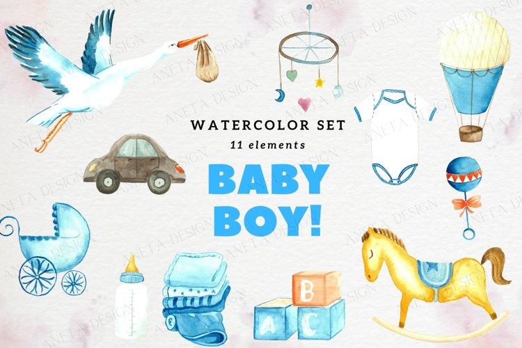 Baby Boy Watercolor Clip Art, Nursery Decor example image 1