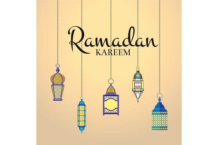 Vector Ramadan illustration with haning lanterns and arabic example image 1