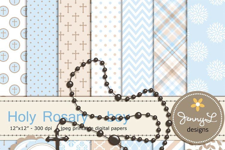 Rosary Boy Baptism Digital Papers and Clipart, First Communion, Confirmation, Christening, Dedication, Religious, Holy Week Scrapbooking Paper, Cross example image 1