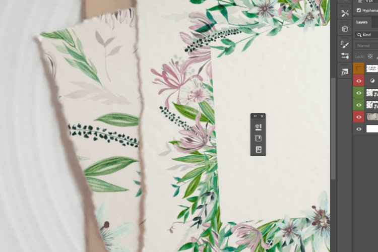 Photorealistic hand made paper mockup, flat lay template. example 1