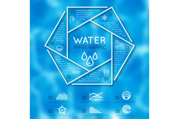 Water infographic vector template with texture blurred backg example image 1
