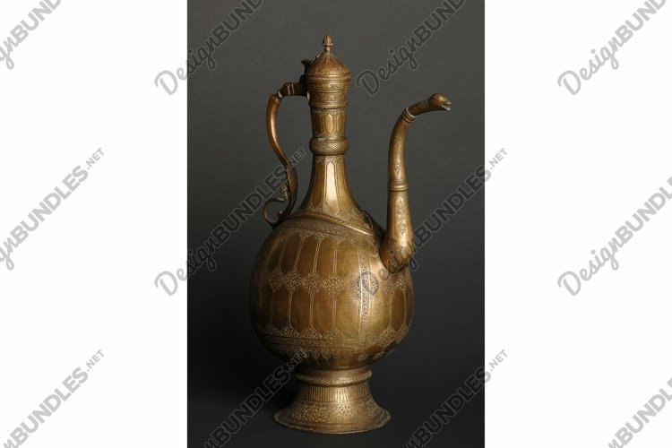 Ancient oriental metal jug . Antique bronze tableware example image 1