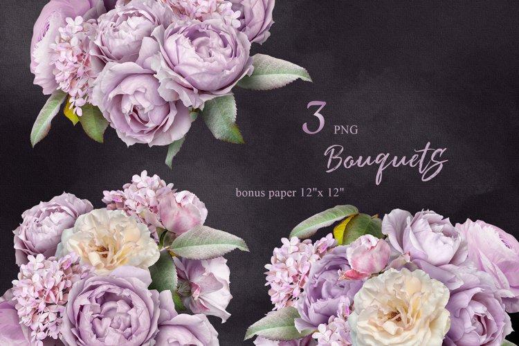Lilac roses bouquets clipart. Floral arrangements. example image 1