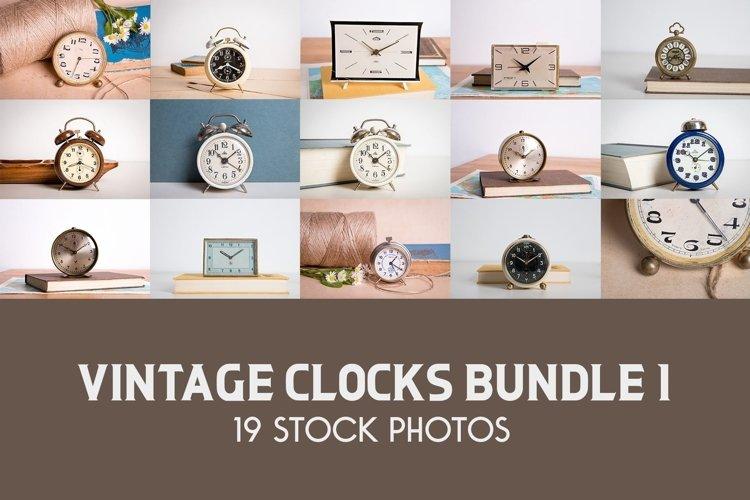 Photo Bundle of Vintage Alarm Clocks, Retro Photo Prop