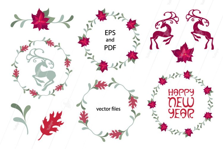 Christmas and New Year vector clip art pack example image 1