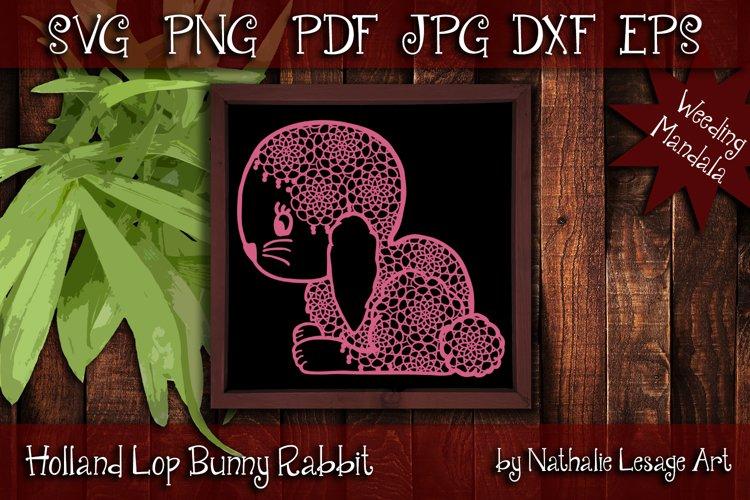Bunny Rabbit SVG Mandala Holland Lop Cut File Vector