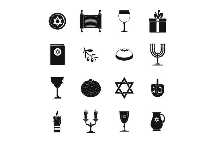 Chanukah jewish holiday icons set, simple style example image 1