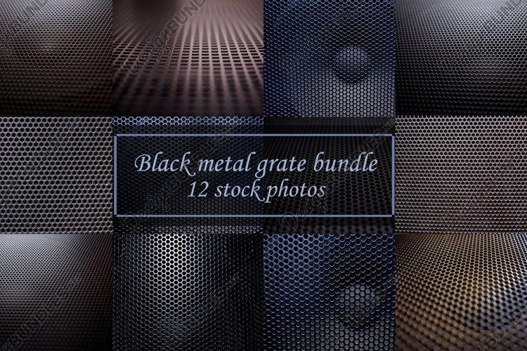 Black metal grate bundle 12 stock photos
