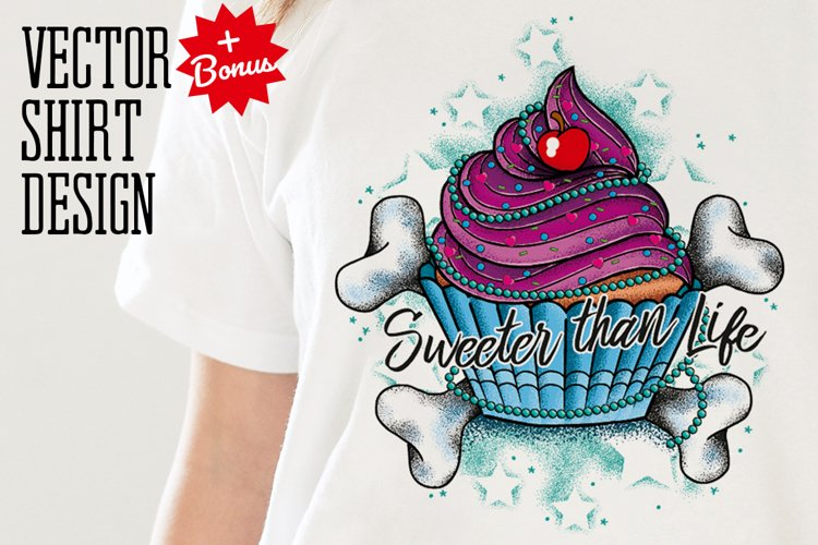 Cupcake Tattoo Style Vector example image 1