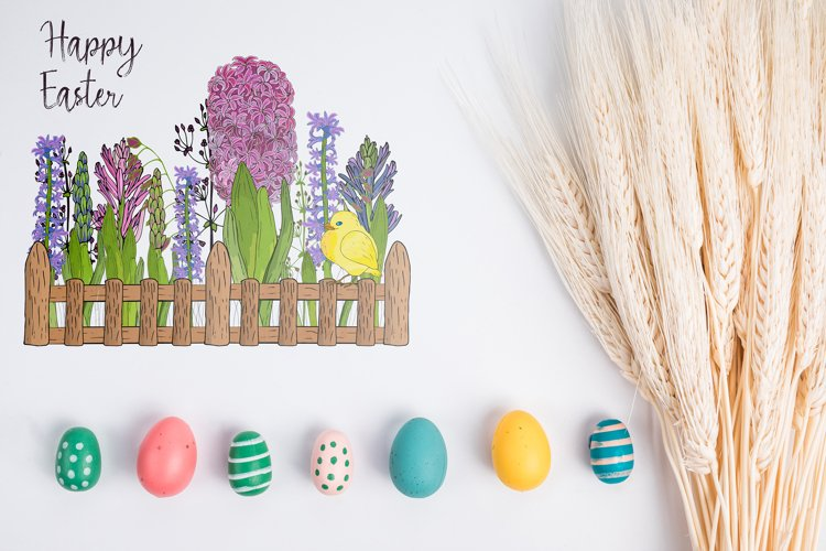 Hand drawn Vector Easter floral bundle, Ai, EPS, PNG. example 1