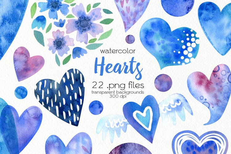 Watercolor Hearts Clipart - PNG Files example image 1