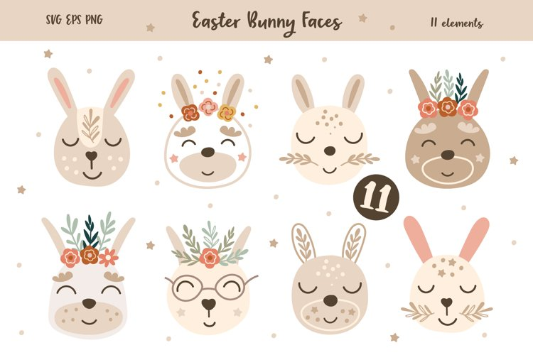 Easter Baby Bunny Faces Clipart, Vector set, SVG, PNG example image 1