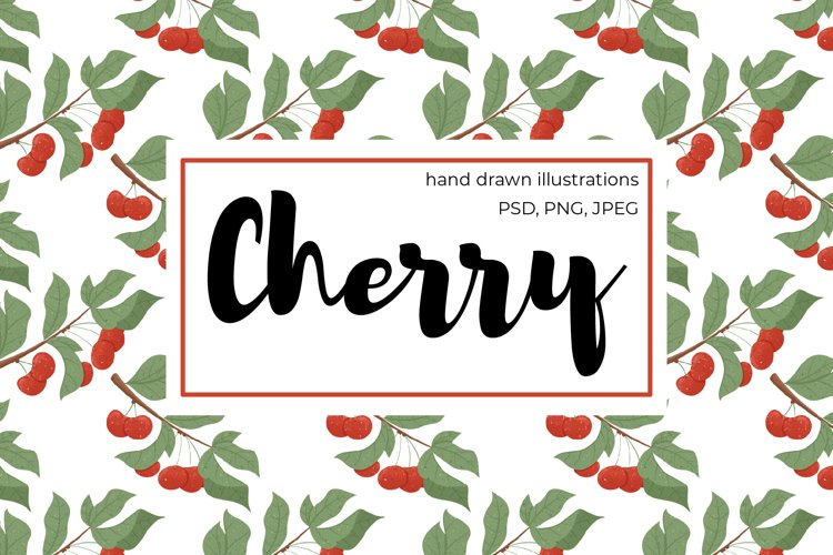 Cherry hand drawn clip art example image 1