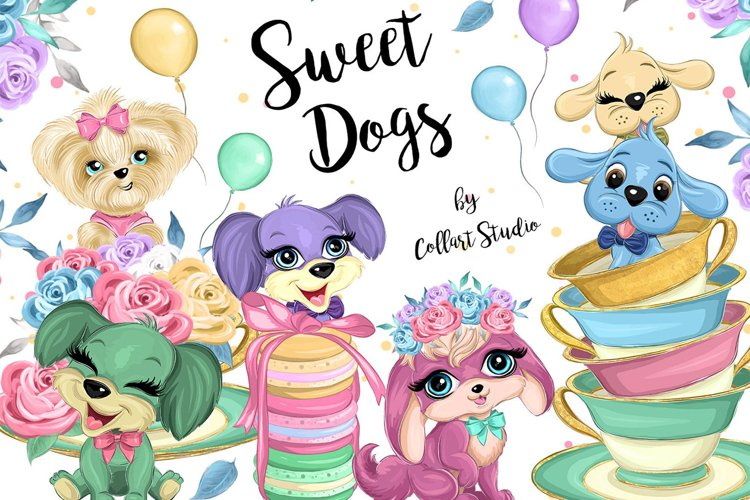 Dogs clipart, cute dogs illustration, nursery decor images example image 1