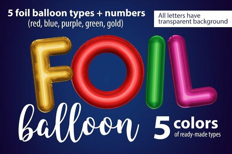 Foil balloon font. Balloon letters alphabet. 5 colours