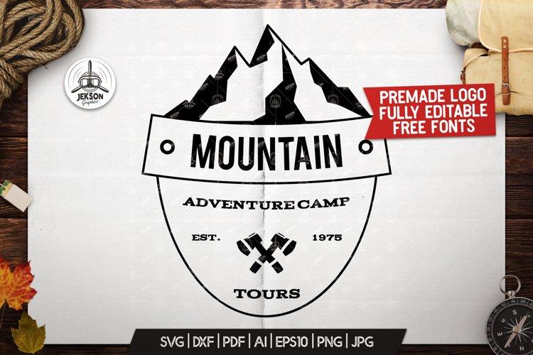 Retro Camping Insignia, Mountain Vector Logo Label SVG File example image 1