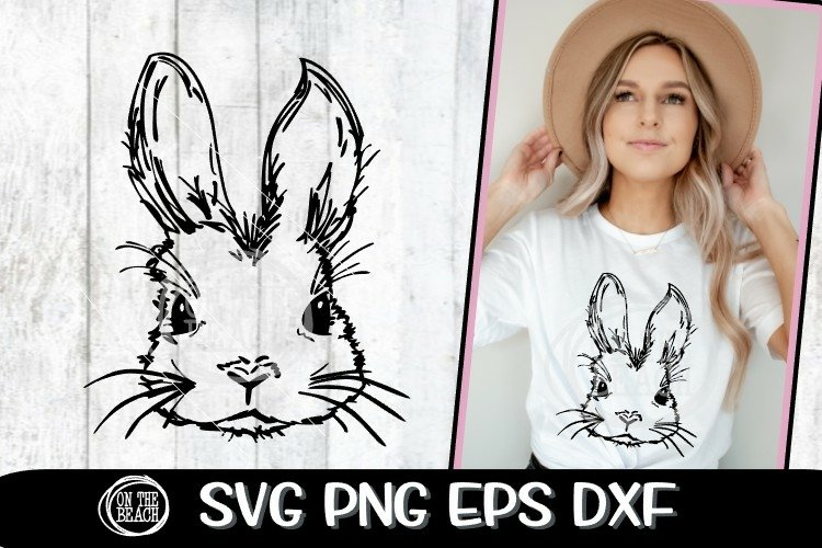 Bunny Face - Easter Bunny SVG - Cute Bunny - SVG PNG EPS DXF
