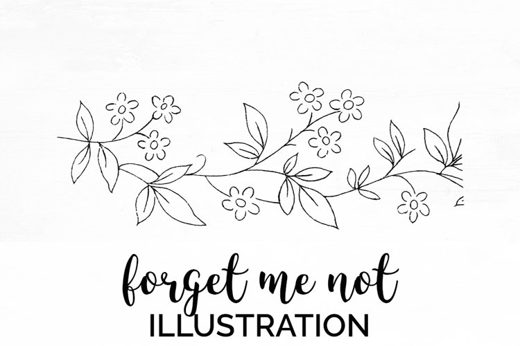 Florals - Vintage Forget me Not Engraving example image 1
