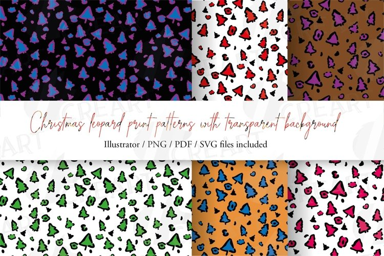 Christmas colourful leopard print seamless digital paper png example image 1