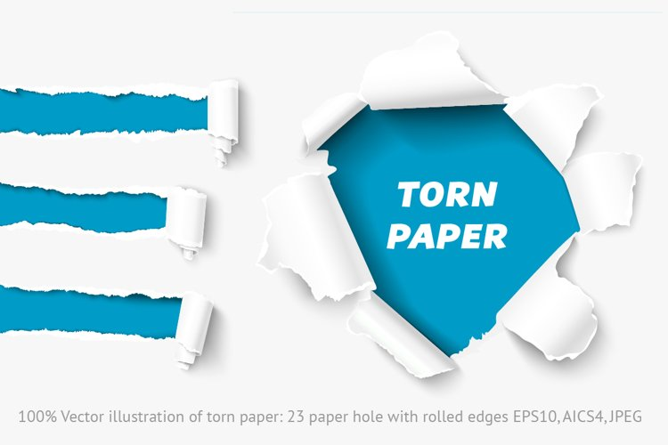 Vector torn paper set. Hole in paper