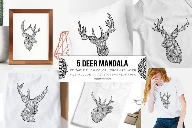 5 Deer Bundle Mandala | SVG example image 1
