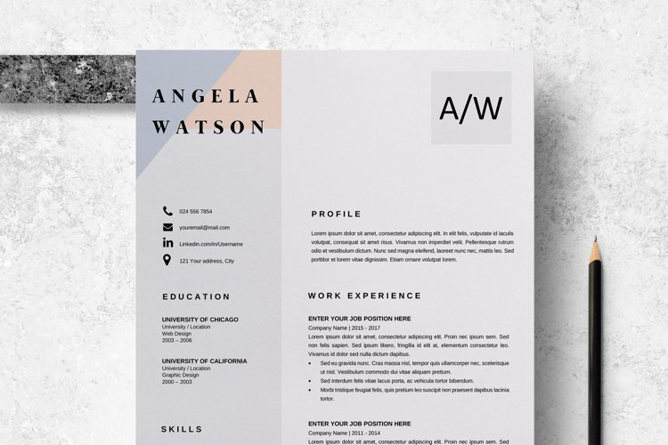 Resume Template   CV Cover Letter - Angela Watson