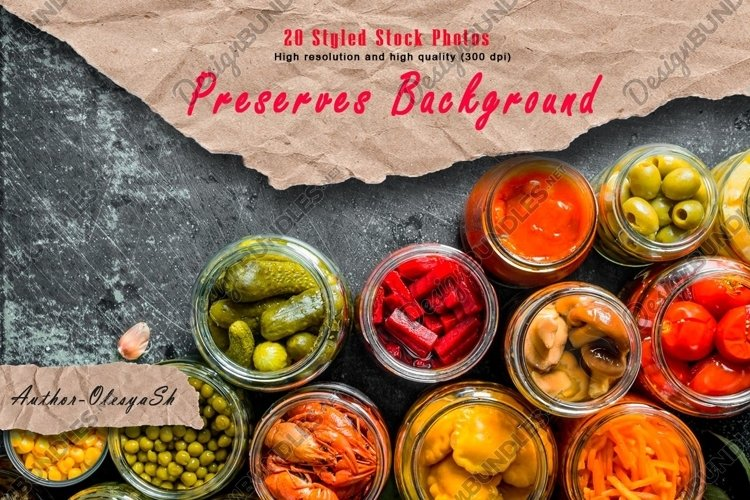20 Photos Variety of homemade pickled food. Preserves food. example image 1