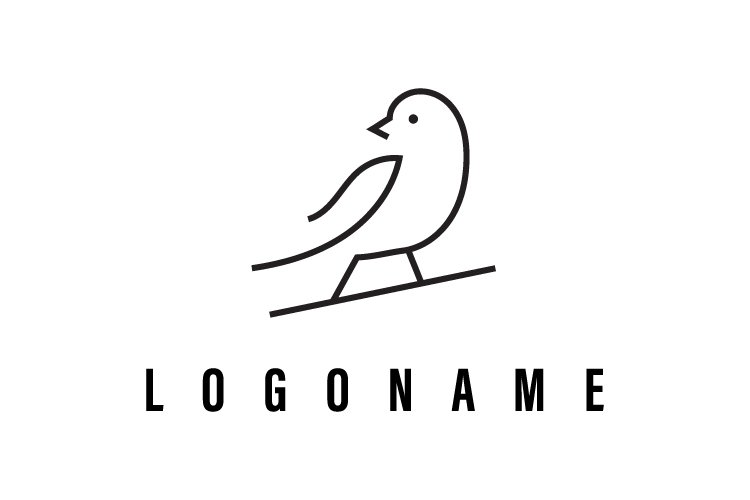 Bird minimal one line vector logo template - Eps 10 example image 1