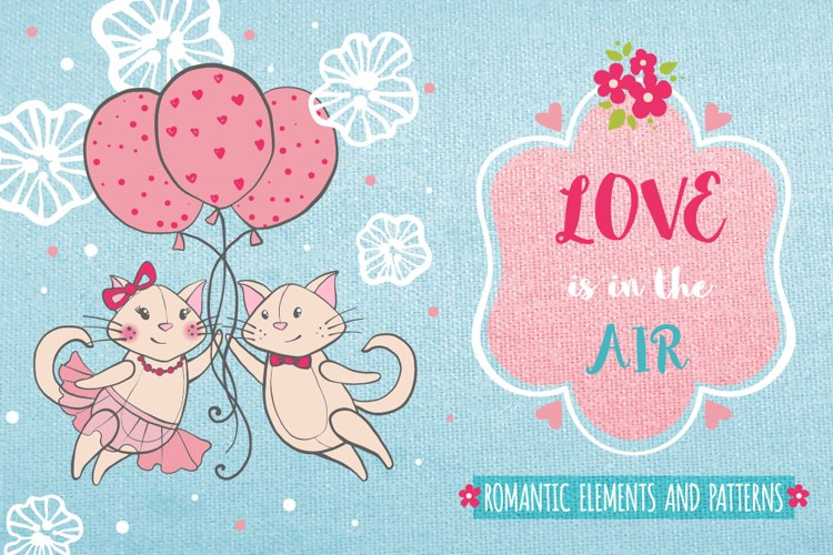 Romantic set with cats and flowers