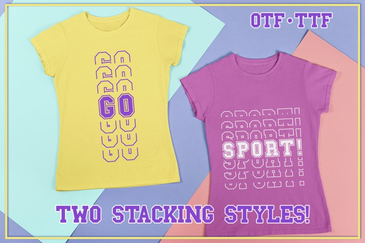 Sports Stacked Mirror Font With Two Stacking Styles example image 1