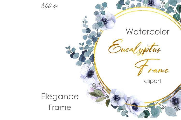 Watercolor frame clipart. Eucalyptus shower wedding wreath