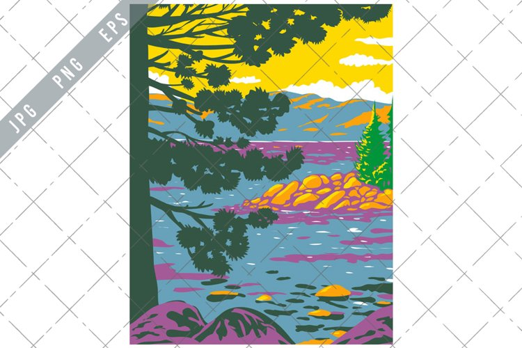 Emerald Bay Lake Tahoe in the Sierra Nevada Mountains WPA example image 1