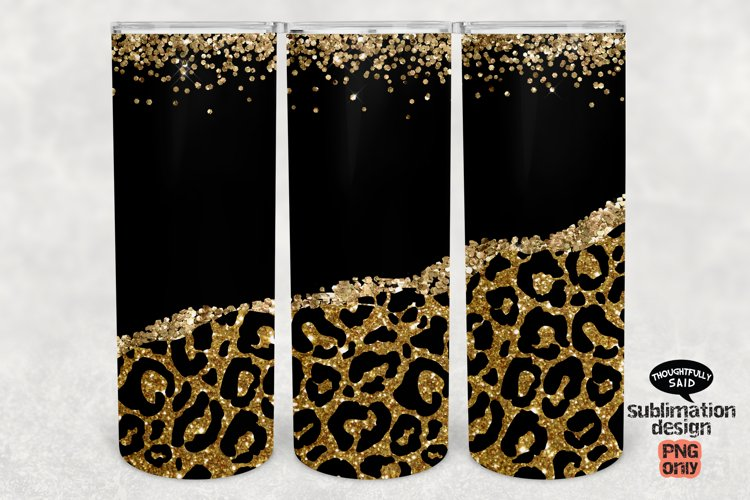 Gold Glitter Leopard 20 oz SkinnyTumbler SUBLIMATION png example image 1