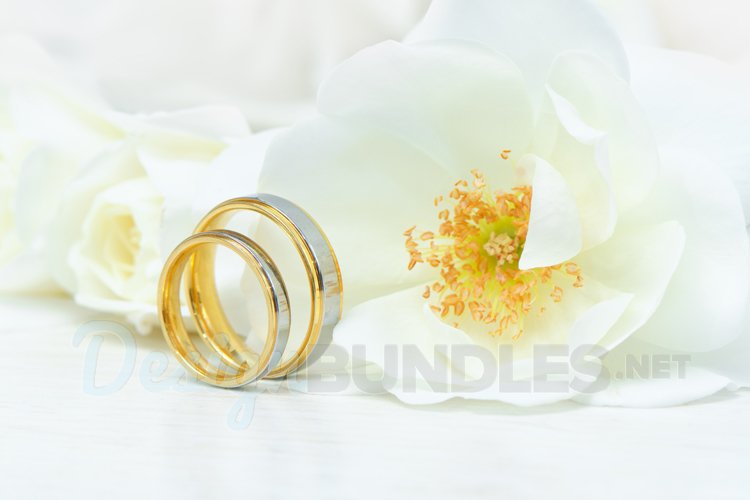 Wedding Rings & White Roses example image 1