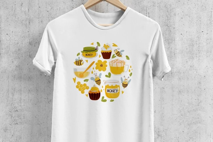 Circle concept SVG with bee, honey, flowers T shirt design