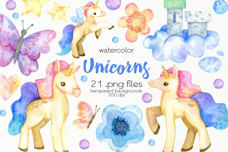 Watercolor Unicorn Clipart - PNG Files example image 1