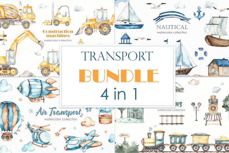 Transport bundle. Watercolor example image 1