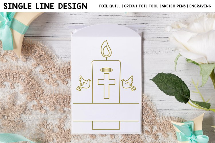 Baptism Candle Split Frame Single Line Design For Foil Quill